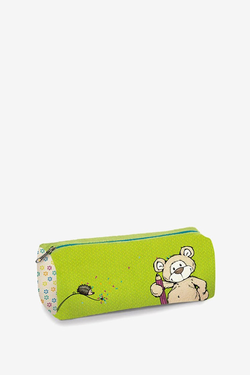 Pouch Bear Plush Printed, Beige/Lime Green