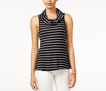Juniors' Sleeveless Cowl-Neck Top, Black/White