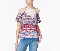 No Comment Juniors' Cold-Shoulder Top, Boho Stripe