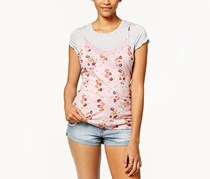 Ultra Flirt Juniors' Layered-Look T-Shirt, Grey/Pink