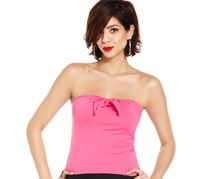 Juniors Top, Strapless Sexy Pink