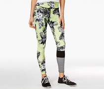 Womens The Warmup Floral Print Blocked Leggings, Lime