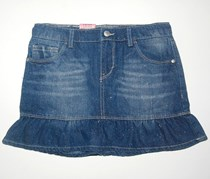Kids Girls Sparkly Denim Scooter Skort Skirt