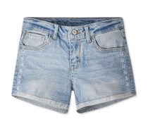 Levis Girl's Embroidered Shorts,  Light Blue