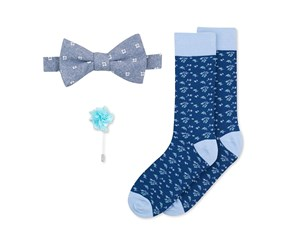 Bar III Men's Bow Tie, Lapel Pin & Socks Set, Blue