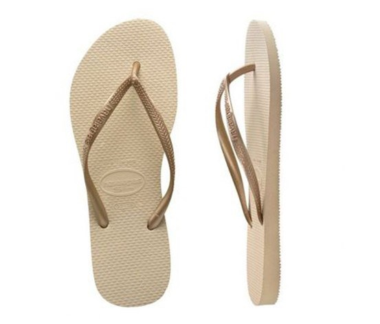 Girls Slim Flipflops, Sand Grey/Light Golden
