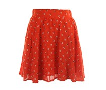 Maison Jules Heart Print Mini Skirt,Optic Orange Combo