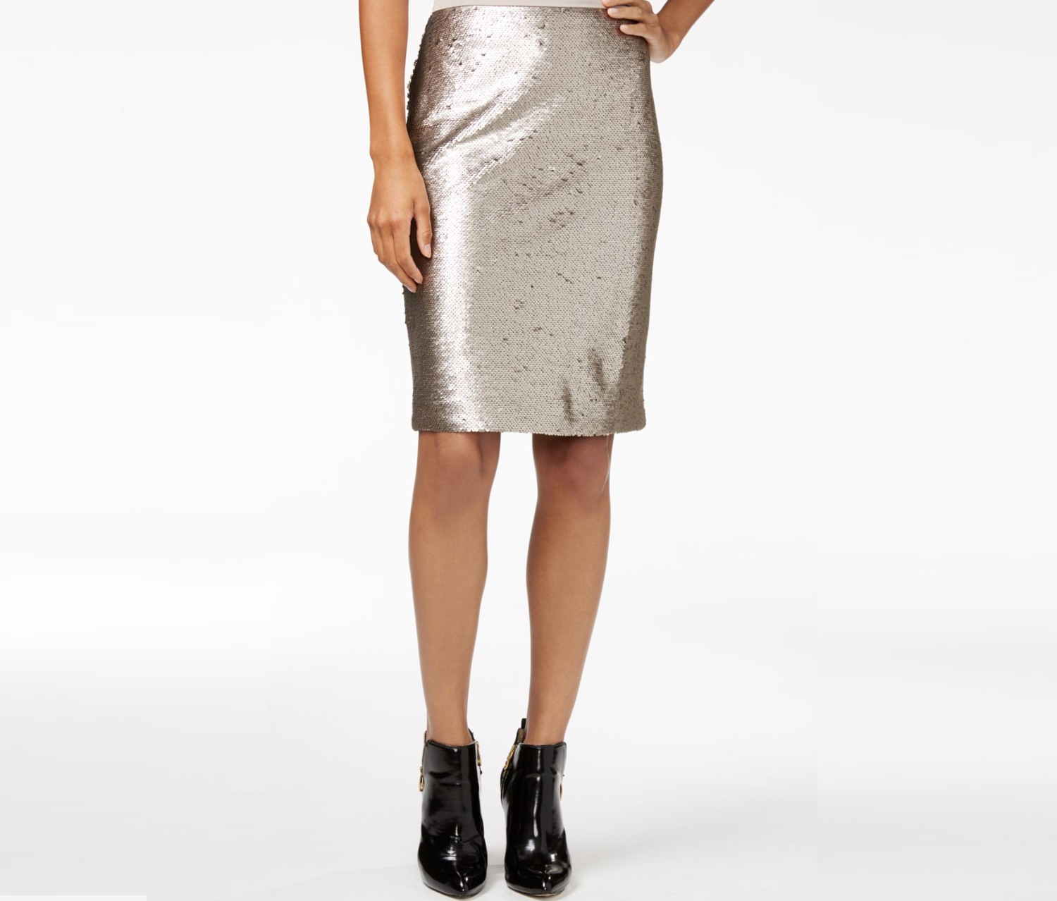 Maison Jules Sequin Pencil Skirt, Gold Combo