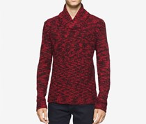Men's Asymmetric Cable-Knit Shawl-Collar Sweater, Black/Red