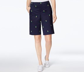 Charter Club Embroidered Bermuda Shorts, Intrepid Blue