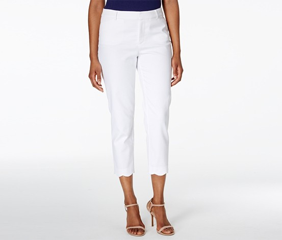 Scalloped-Hem Capri Pants, Bright White
