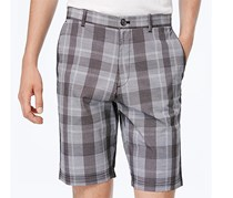Calvin Klein Men's Slim-Fit Yarn-Dyed Plaid Shorts, Black