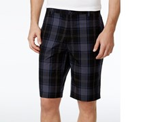 Mens Regular-Fit Windowpane Short, Black