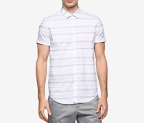 Calvin Klein Men's Striped Cotton Shirt, White