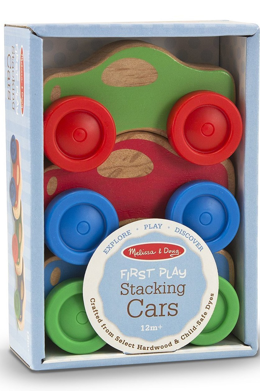 Melissa & Doug Baby Toy Stacking Cars Wooden, Blue Combo