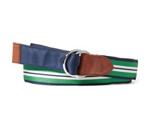 Ralph Lauren Mens Reversible Gross grain Belt, Navy/Bright Green