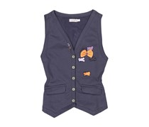 Boboli Toddler Girls Fleece Vest, Navy