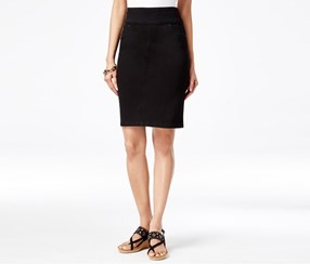 Style & Co Petite Pull-On Pencil Skirt, Black Rinse