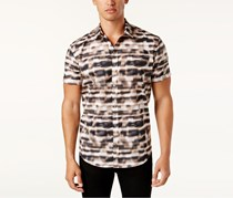 Calvin Klein Men's Classic-Fit Hologram-Print Shirt, Black/White/Brown
