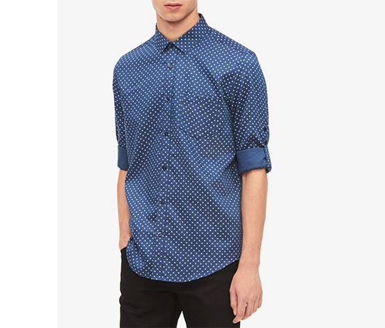 Men's Mid-Scale Dot Twill Roll-Up Shirt, Delft