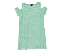 New York Clothing Company Stretch Lace Knit Fully Lined Cold Shoulder Dress, Teal Mint