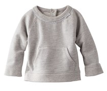 Little Girl's French Terry Pocket Pullover, Grey Heather