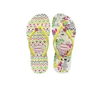 Havaianas Kids Slim Disney Cool Flip Flop, White/Yellow