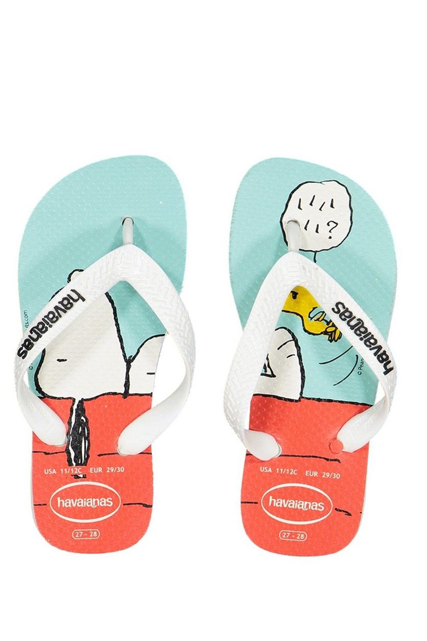 Kids Girl Snoopy Flip Flop, White/Blue