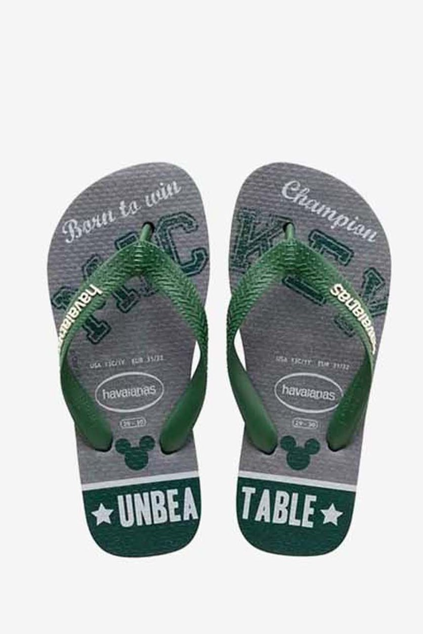 Kid's Boys Mickey Flip Flop, Steel Grey/Green
