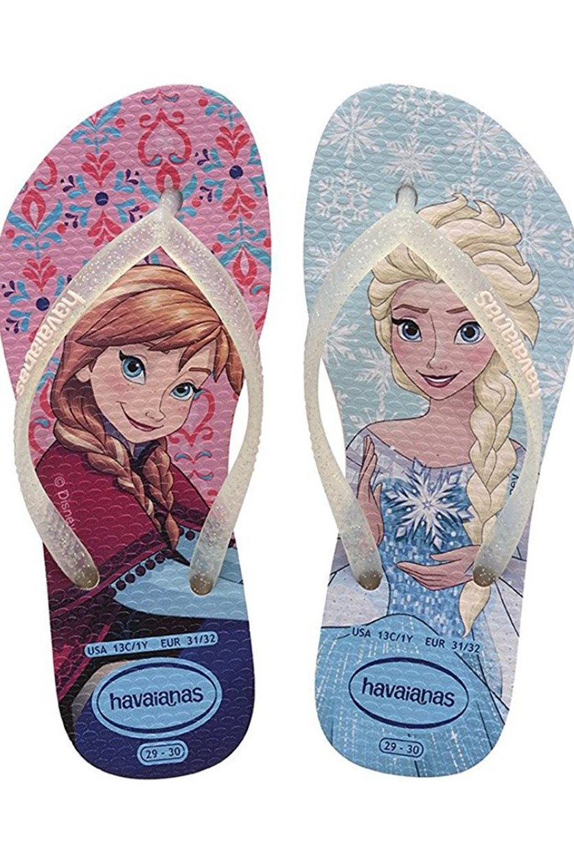 Girls Slim Frozen Flipflops, Pearl Pink