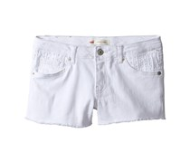 Levis Girl's Embroidered Eyelet Denim Shorty Shorts, White