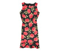 New York Women's Scuba Knit Printed Ruffle Hem Midi Dress, Black/Red