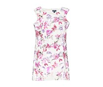 New York Women's Scuba Knit Foil Floral Printed Dress, Ivory/Fush