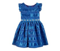 Sweet Heart Rose Embellished Shadow Striped Dress, Blue