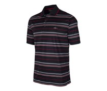 Greg Norman Mens Multi-Stripe Polo Shirt, Deep Black