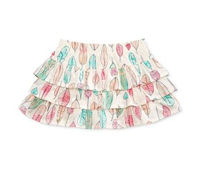 Epic Threads Graphic Print Feather Tiered Scooter Skirt, Holiday Ivory