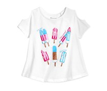 Inc Kid's Girl Popsicle Graphic-Print Cold-Shoulder T-Shirt, Bright White