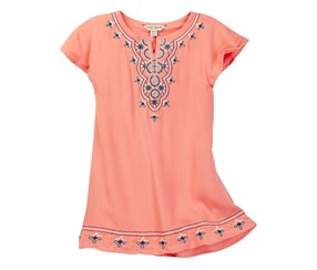 Lucky Brand Girls Missy Embroidered Dress, Camelia Pink