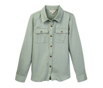 Lucky Brand Girls Kendl Embroidered Button Up Shirt, Lily Pad