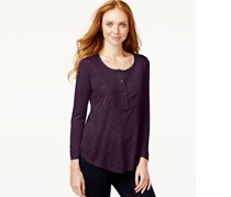 Calvin Klein Women's Long Sleeve Bib Henley, Elderberry