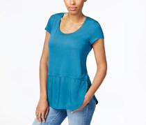Calvin Klein Jeans Scoop-Neck Mixed-Media Top, Lyons Blue