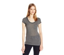 Women's Short Sleeve Chain Neck Detail, Coldstone Heather