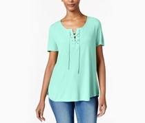 Calvin Klein Jeans Lace-Up Split-Neck T-Shirt, Wasabi