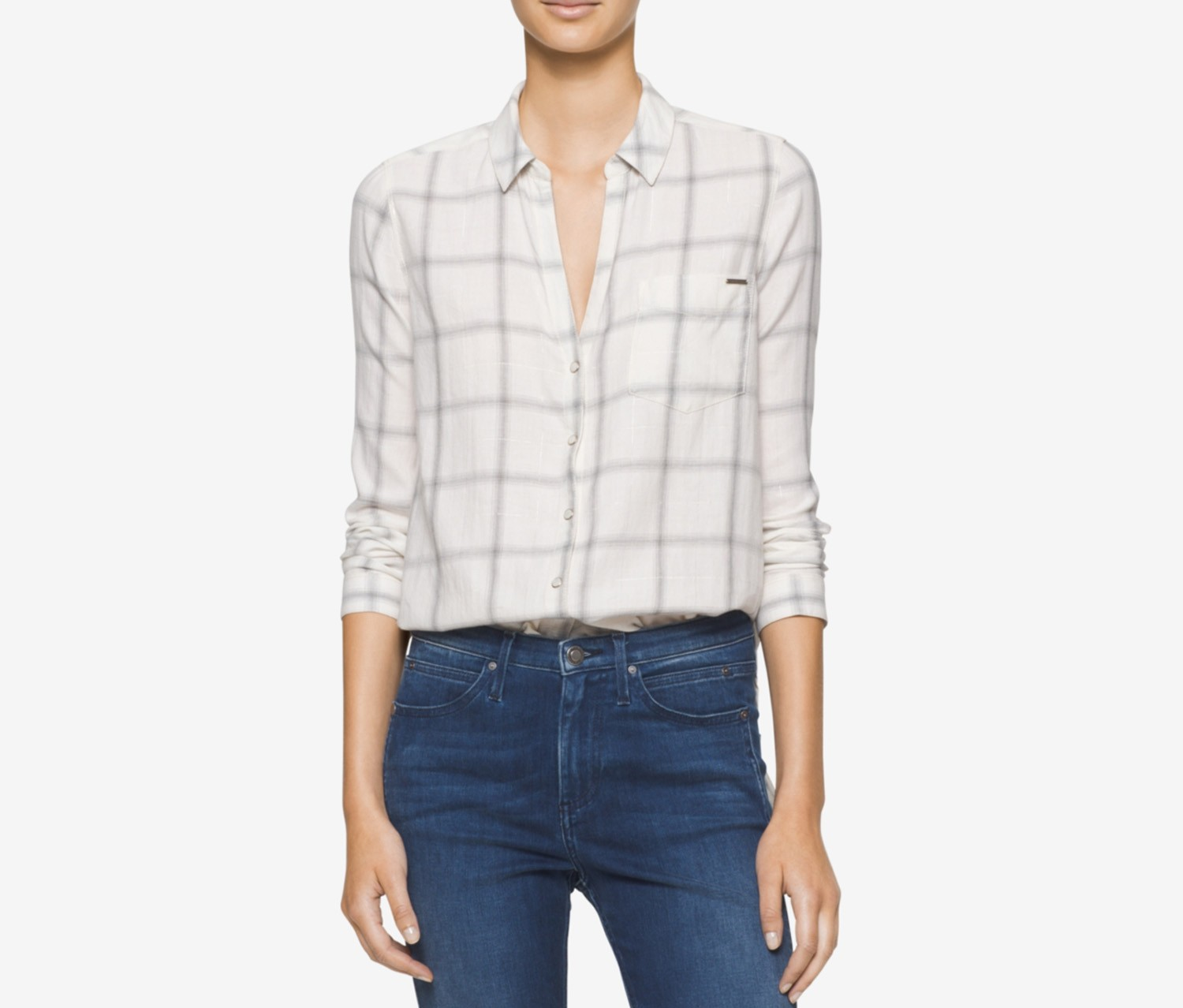 Jeans Plaid Long Sleeve Top, Northern Ivory