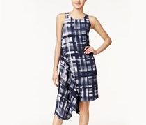 Alfani Printed Asymmetrical-Hem Dress, Text Plade Navy