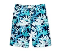 Kanu Surf Aruba Leaf-Print Swim Trunks, Navy
