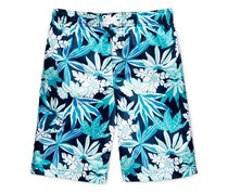 Kanu Surf Aruba Leaf-Print Swim Trunks, Navy Blue