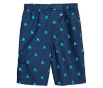 Kanu Surf Sailboat-Print Swim Trunks, Navy