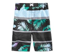 Kanu Surf Big Boys Condor Mixed-Print Swim Trunks, Black Combo