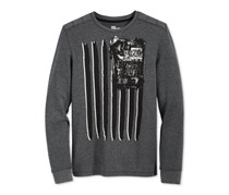 Epic Threads Boys' Graphic-Print Thermal Shirt, Charcoal